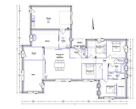 plan maison plain pied en l 4 chambres plan maison plain pied 4 chambres maison moderne