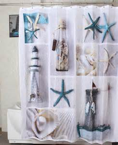 seashell and snady decorate shower curtain in