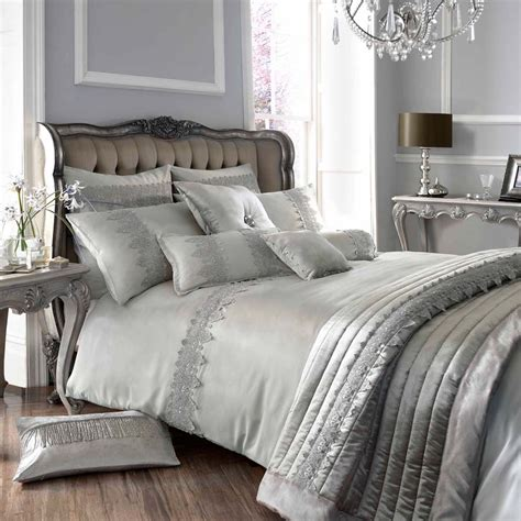 Designer Bedroom Set Minogue At Home Luxury Designer Grey Antique Lace Faux Silk Bedding Ebay