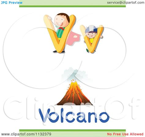 of a letter v word and volcano royalty free