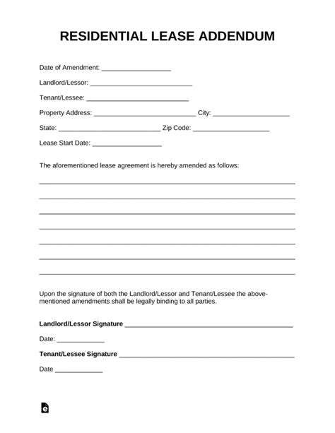 Free Residential Lease Addendum Template Pdf Word Eforms Free Fillable Forms Free Addendum Sticker Template