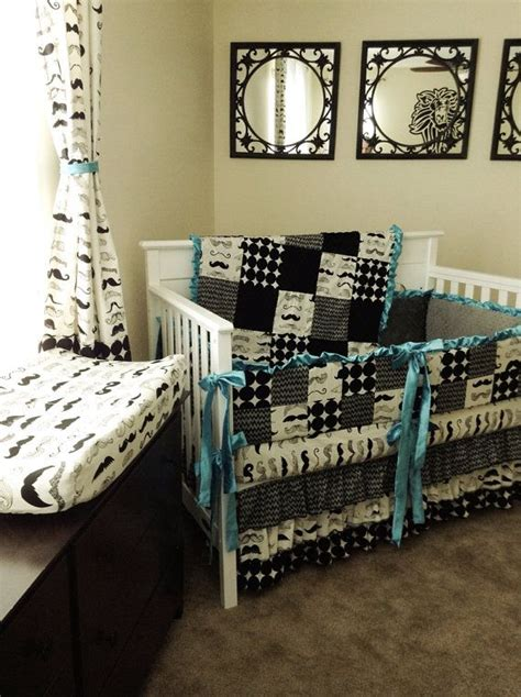 Mustache Bed Set Mustache Chevron Crib Bedding Set Aqua By Klbaby On Etsy 350 00 I Mustache You A Question