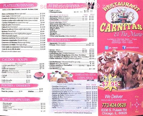 menu   ga carnitas restaurant chicago illinois  zmenu