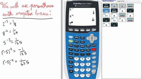 calculator negative negative exponents ti 84 calculator exponent series youtube