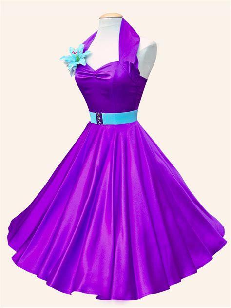 Purple Satin Dress 1950s halterneck purple satin dress