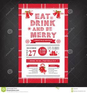 christmas restaurant and party menu invitation stock