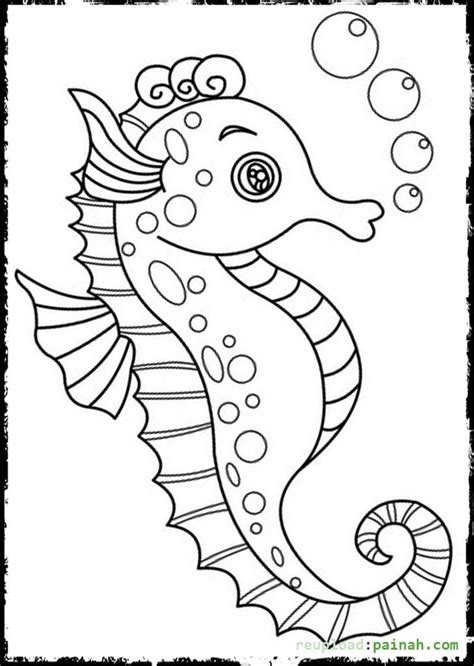 seahorse coloring pages to download and print for free