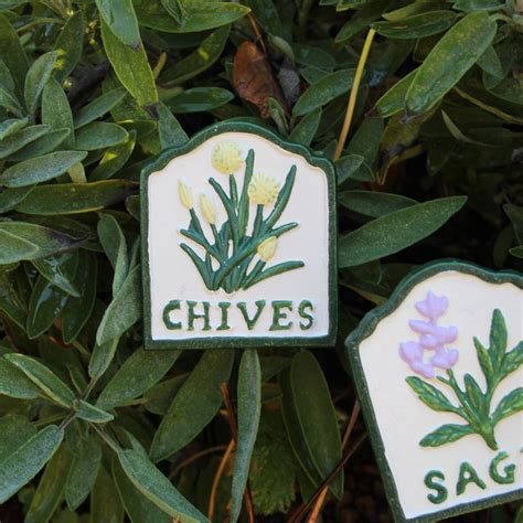 Metal Herb Garden Signs by Metal Plaque Signs Herb Planter Names Chives Mint Thyme