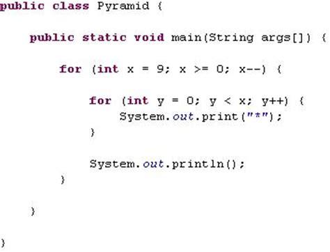 character pattern programs in java using for loop java pyramids for loop exle