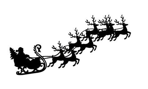 santa sleigh and reindeer silhouette clip santa and 8 reindeer in flight