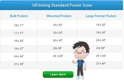 printable poster size standard poster sizes for printing design uprinting com