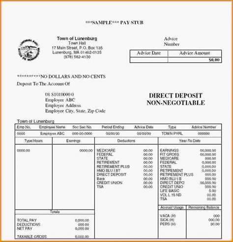 Pay Stub Template Free Template Business Payroll Check Stub Template