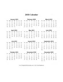 2018 Calendar One Page Printable 2018 Calendar On One Page Vertical