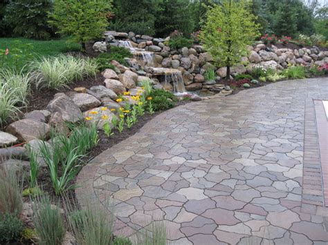 Flagstone Pavers Patio Water Fall And Pond Flagstone Paver Contemporary Patio Detroit By Apex Landscape And