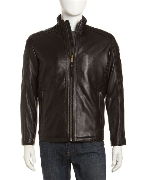 rugged leather jackets marc new york by andrew marc neptune rugged leather jacket in black for lyst