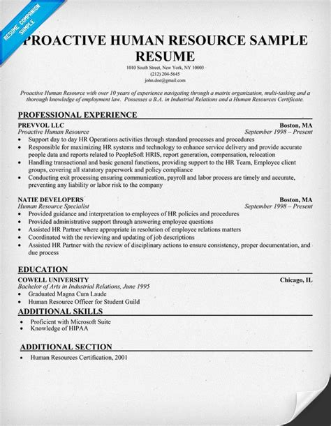 human resource administration sample resume 5 hr executive resume