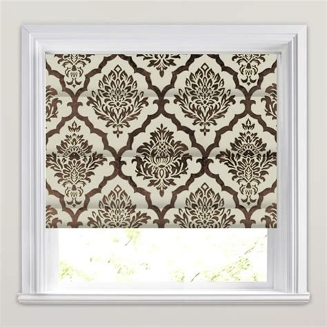 brown patterned roman blinds mocha brown large velvet damask pattern roman blinds