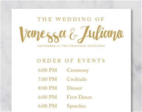 Wedding Order Of Events by Order Of Events Etsy