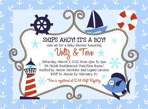Baby Shower Nautical Theme Invitations by Sailboat Nautical Themed Baby Shower Ideas Free