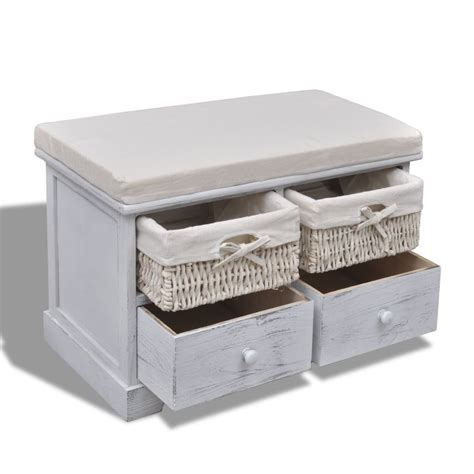 storage bench drawers white wooden storage bench 2 weaving baskets 2 drawers