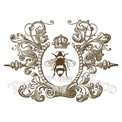 Water Decal Print Transfer Victorian Queen Bee 002 Shabby Chic Decals