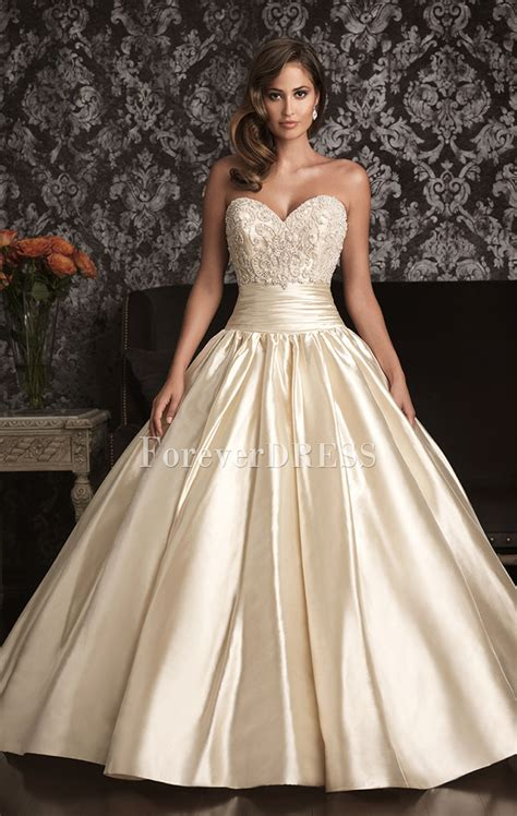 Wonderful Ivory beaded bodice satin Ball gown wedding