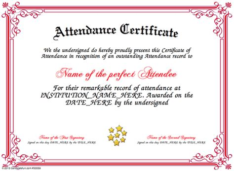 templates for certificates of attendance attendance certificate