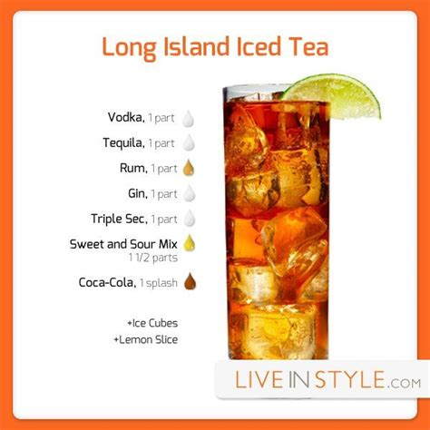 recipe for long island iced tea infographics pinterest