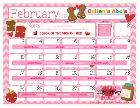 February Themes In Kindergarten | preschool calendars christian children activities