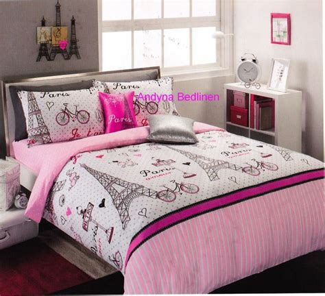 Pink Themed Bedroom - pink and black paris teen bedding details about 6 piece paris glamour double full size package