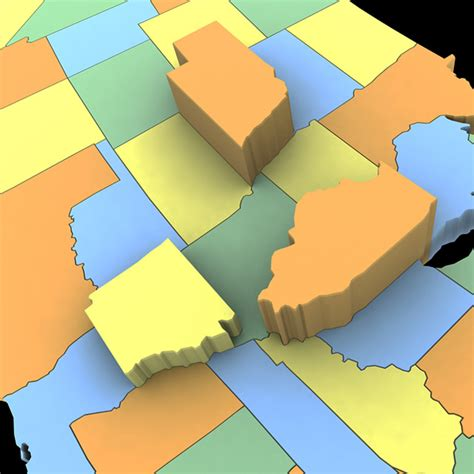 3d map of the united states united states of america map 3d model max obj 3ds wrl