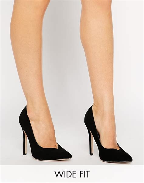 high heels wide fit black suede pumps asos collection positive wide fit