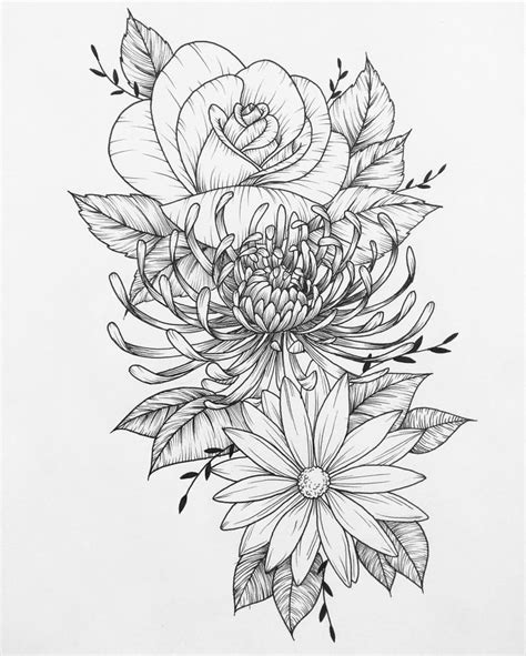 Sketches Flowers by Flower Coloring Pages Tattoos