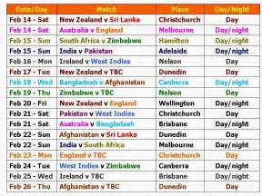World Cup Time Table by Learn New Things Icc World Cup 2015 Schedule And Time Table
