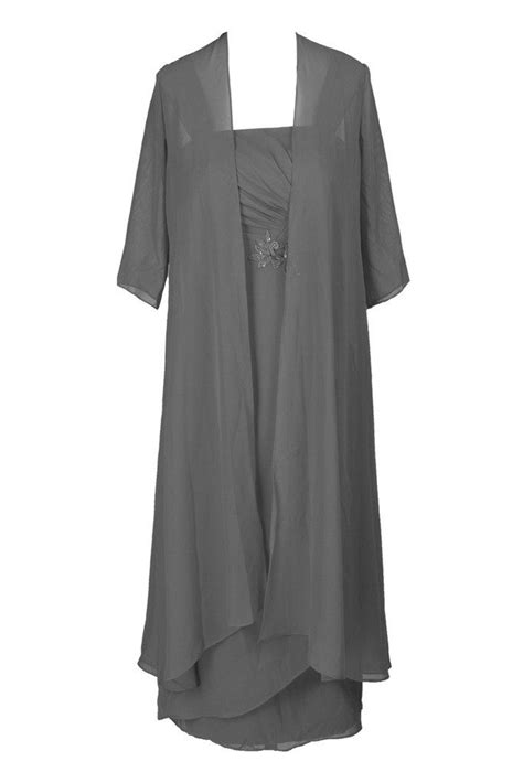 Ellames Plus Size Tea Length Mother Of The Bride Dresses With Jacket Grey US 22Plus | Mothers