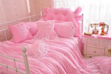 korean web site to order white satin bedspreafs cotton princess korean bedding sets king lace satin bedding bedskirt blue pink white dot