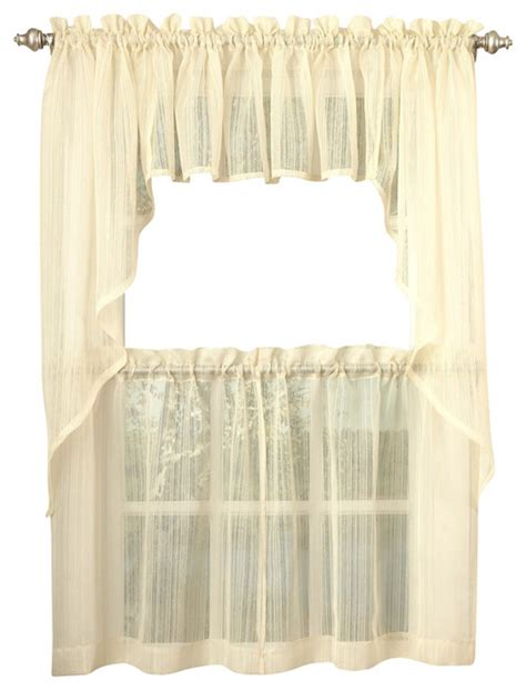 Kitchen Sheer Curtains Harmony Sheer Yellow Kitchen Curtain 24 Quot Tier Traditional Curtains By Linens4less