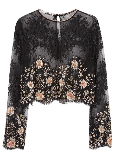 Embellished Top lyst alessandra rich black cropped embellished lace top