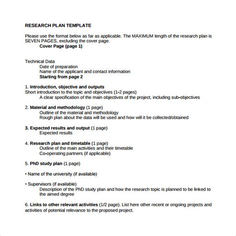phd study plan template sle research plan 6 documents in word pdf