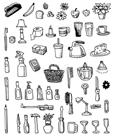 item doodle draw household doodle items stock vector illustration of apple