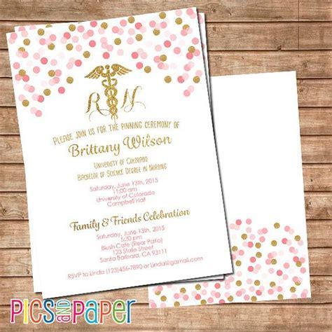 nursing graduation invitation rn  lvn pink  gold
