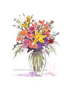 garden flowers greeting card watercolor flowers summer