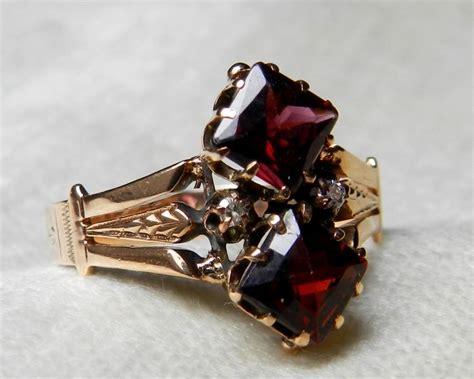 antique engagement ring garnet engagement ring 14k