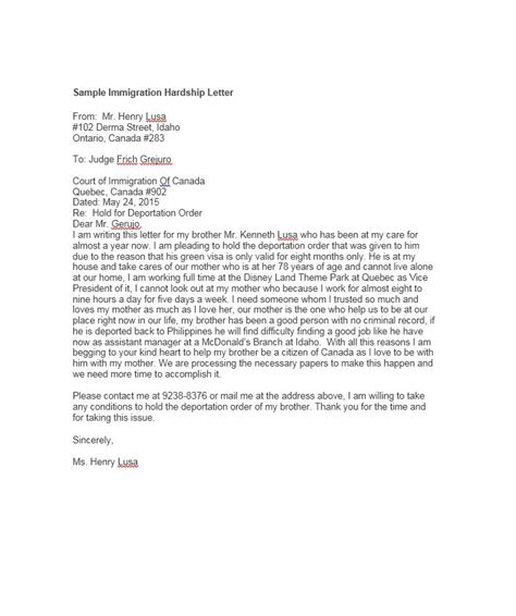 Hardship Letter Guide Sle Guardianship Letter In Of Deportation Docoments Ojazlink