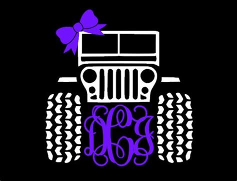 jeep decal with bow items similar to jeep monogram with bow decal 5 inch x 5