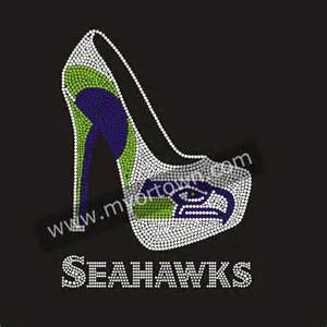 seattle transfer color seattle seahawks high heels shoe iron on rhinestone