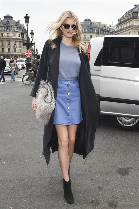 transitional outfit style  denim skirt