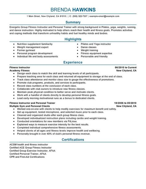 Fitness Instructor Resume by Unforgettable Fitness And Personal Trainer Resume Exles