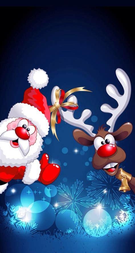 wallpaper christmas ios cartoon santa claus and deer wallpaper free iphone