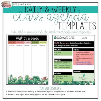 year long google  powerpoint daily agenda templates